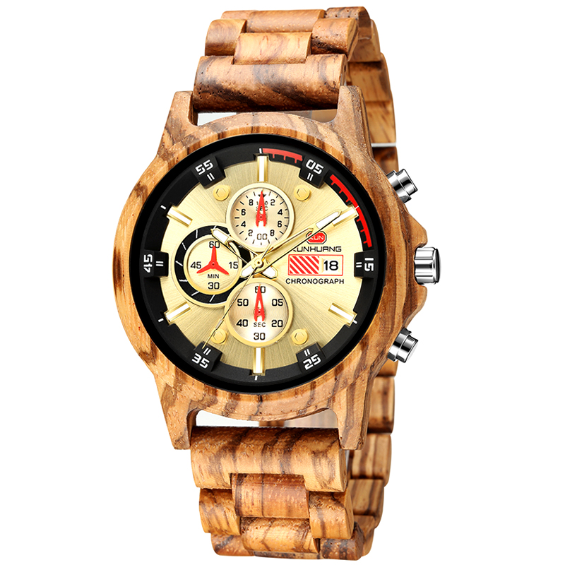 KunHuang <strong>1010</strong> Luxury Wood <strong>Stainless</strong> <strong>Steel</strong> Men Watch Stylish Wooden Timepieces Chronograph Quartz Watches relogio masculino