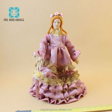 1:12 Doll House porcelain doll lady with purple dress