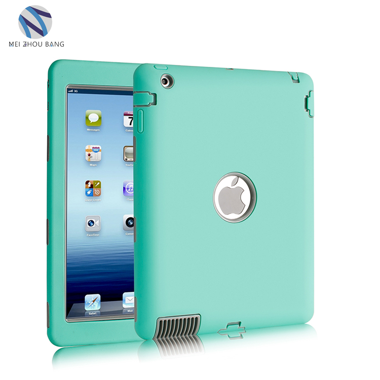 Wholesale Blue/Grey/Plum/purple back cover case PC+silicone shockproof Case For ipad 2 3 4