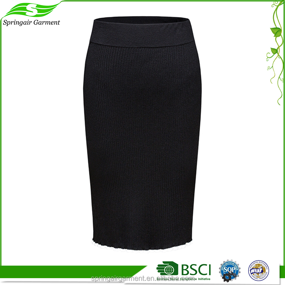 Excellent quality crazy selling ladies office black pencil midi skirt