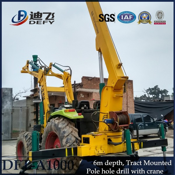 Max 6m depth DFT-A1000 hydraulic ground screw pile driving machine