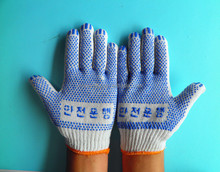 Good Quality 10 Gauge Bleached Write Cotton Glove with Blue PVC Dots