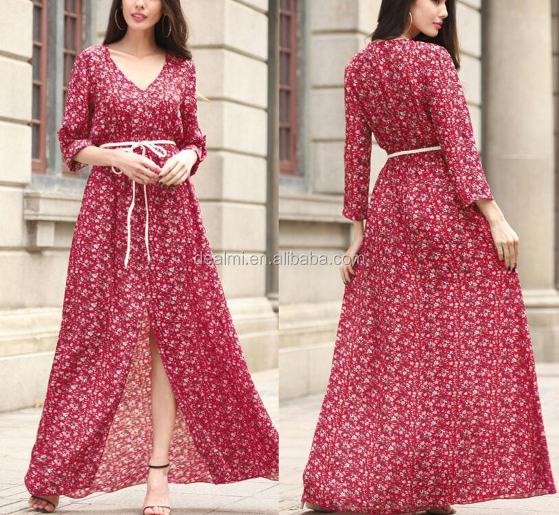 DEMIZXX691 Wholesale Custom Floral Pattern Plus Size S-2XL Size Long Sleeveless Maxi Formal Women Summer Evening Dresses
