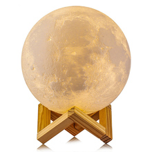Goldmore Low MOQ 48pcs/carton pack USB Charging Warm and Cool White Touch control LED 3D Printing Moon Lamp for Home Decorative