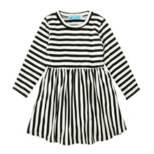 Fall Children Clothes Black With White Stripe Baby Frocks Casual Girl Kids Dress