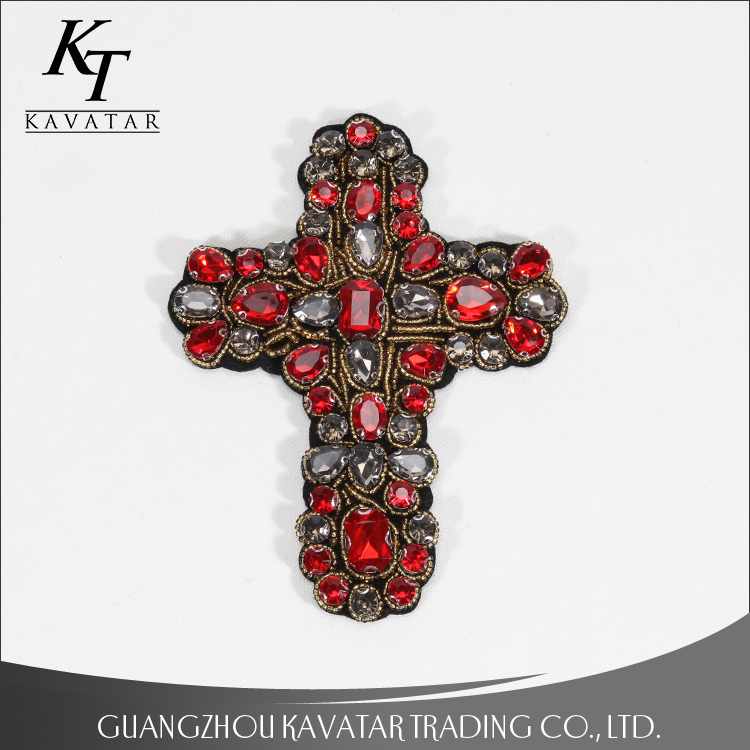 Red cross rhinestones patch vintage embroidered fabric applique clothing decoration sew on patch DIY accessories