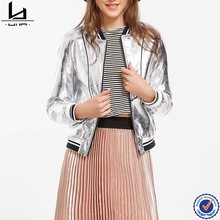 wholesale clothing silver striped trim bomber oem leather jackets for women
