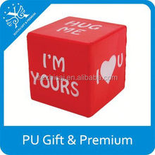 top sale imprinted toys pu square stress ball