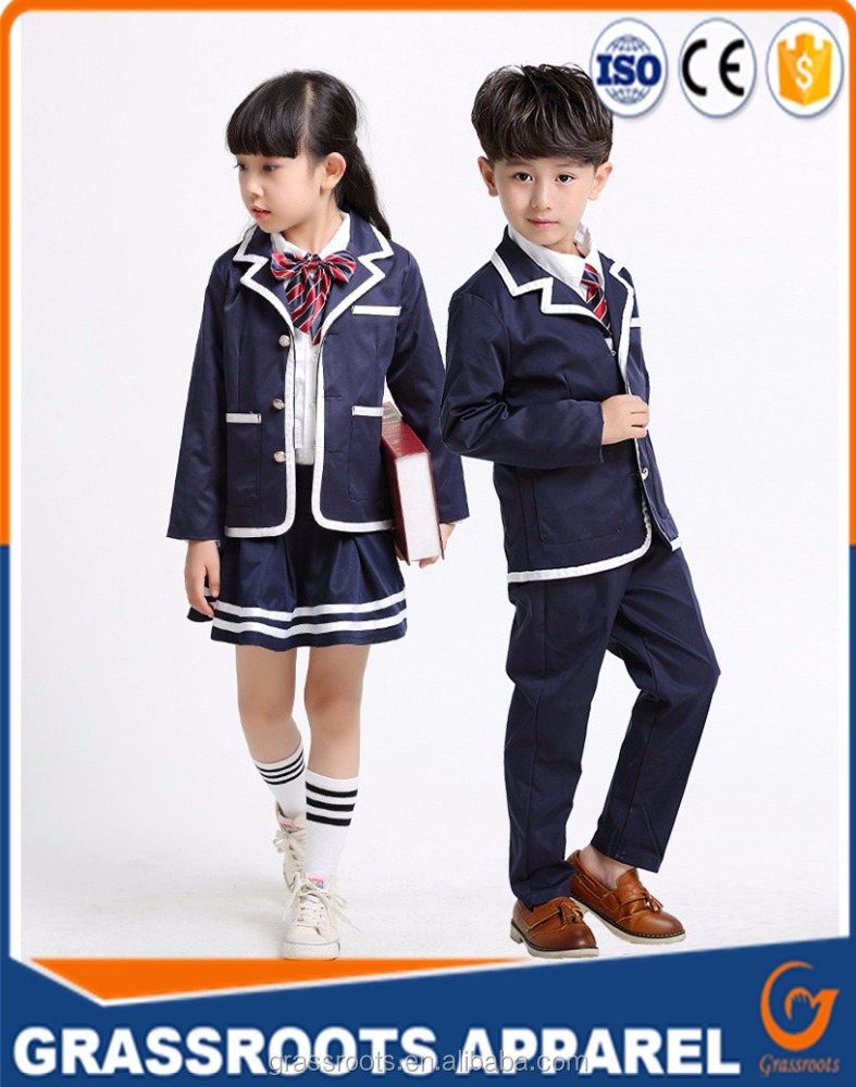 Custom Student Korean Japanese Primary School Uniforms for Boys Girls Blazer Jacket White Shirt Skirt Pants Tie Clothes