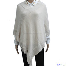 Custom Winter Keep Warm Pure Color Fake Cashmere Tassel Cloak Shawls