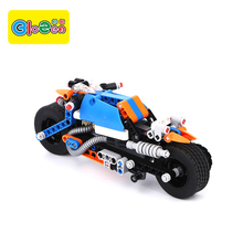 Top quality color box packing children play mobile assemble motorcycle block toy