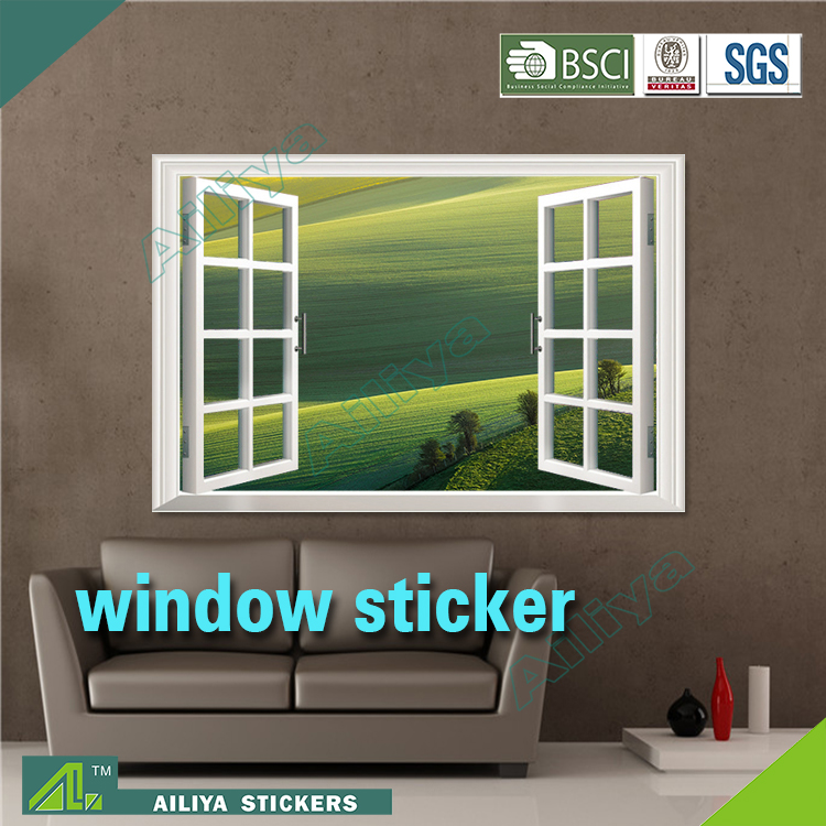 New arrival removable pvc waterproof custom beautiful scenery self adhesive home decor cling on window stickers