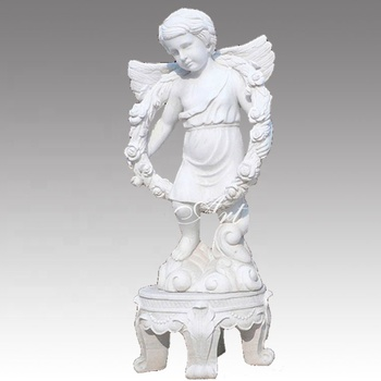 boy marble angel stand on bench sculpture