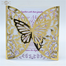 Butterfly gold metal arabic wedding invitation cards laser cut