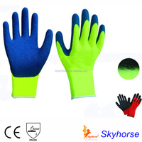 7G Acrylic Shell Napping Lining Latex Coated cotton lined rubber gloves, winter glove
