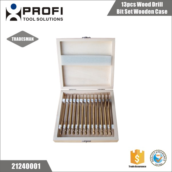 Titanium coated 13pcs woodworking spade drill bit set in wood case