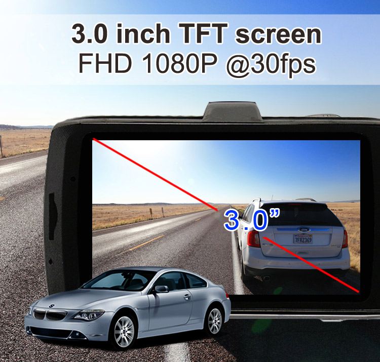 "Private Car Camera Full HD 1080P 3.0"" LCD with G-sensor Night Vision Dash camera Car DVR ZXS-F18"