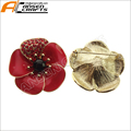 New Poppy Brooches Pin Luxury UK Remebrance Day Gift Gold Tone Red Diamante Crystal Pretty Poppy Flower Brooch
