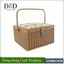 Multi-function handmade fabric craft tapestry sewing storage plastic rattan basket with handle