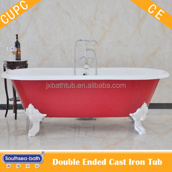 1.8m Red double end free standing cast iron bathtub with clawfeet