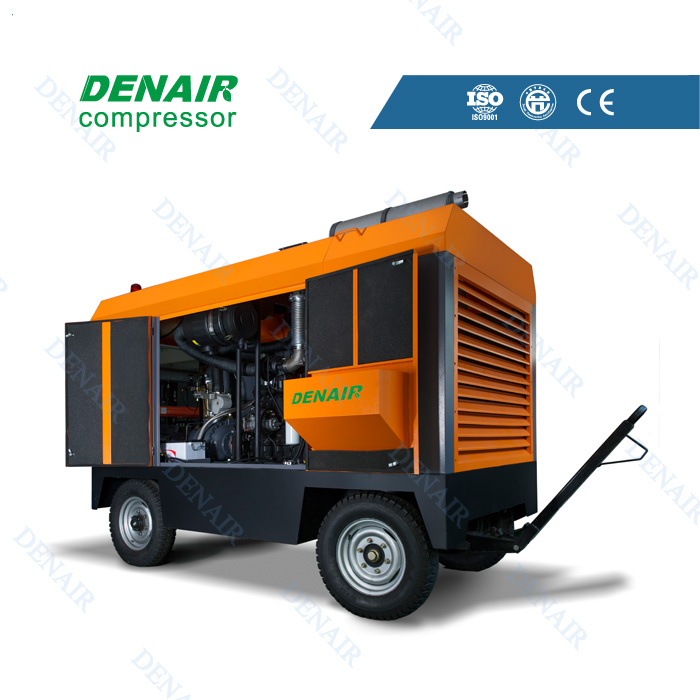 Low noise 58kw diesel portable air compressors