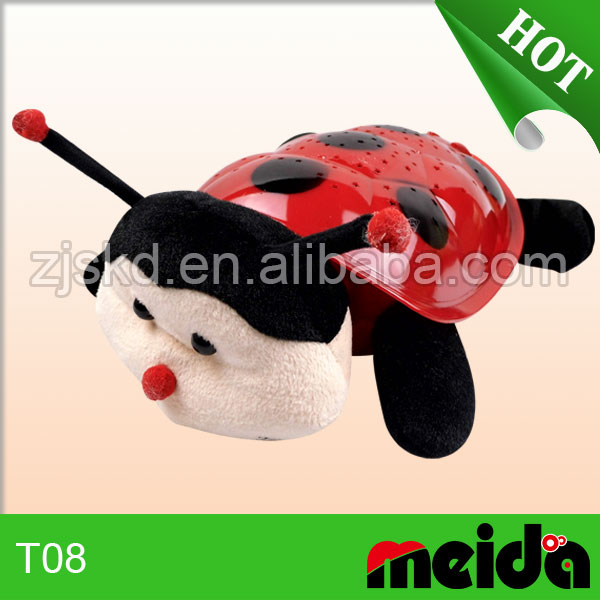 2016 hot sale factory direct sale plush stuffed ladybug night light projector for infant soother with music