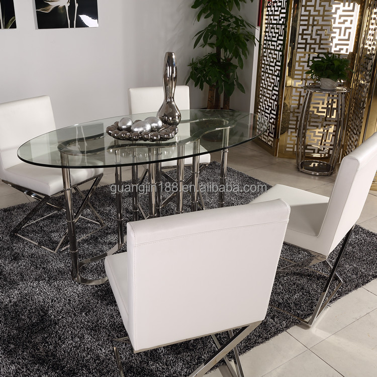 Stainless steel base and glass top types of dining tables for Types of dining tables