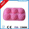 wholesale 6 holes 3d rose design silicone cake baking mold