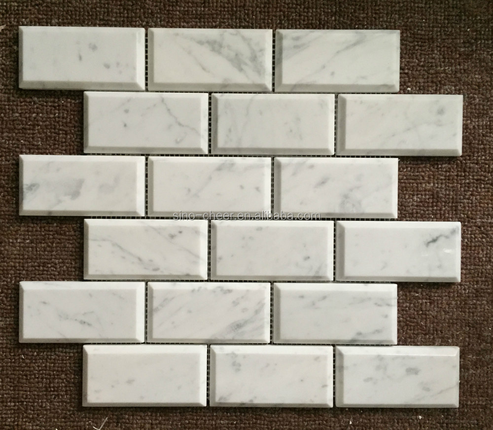 Bianco Carrara White Marble Polished Deep Beveled Subway Brick Wall Marble Mosaic Tile