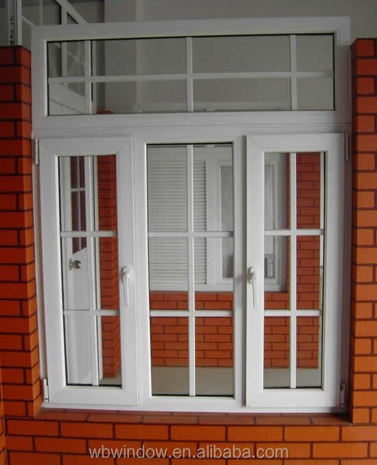 Interior white pvc glass open casement window decorative grilles designs buy white pvc glass for Casement window design plans