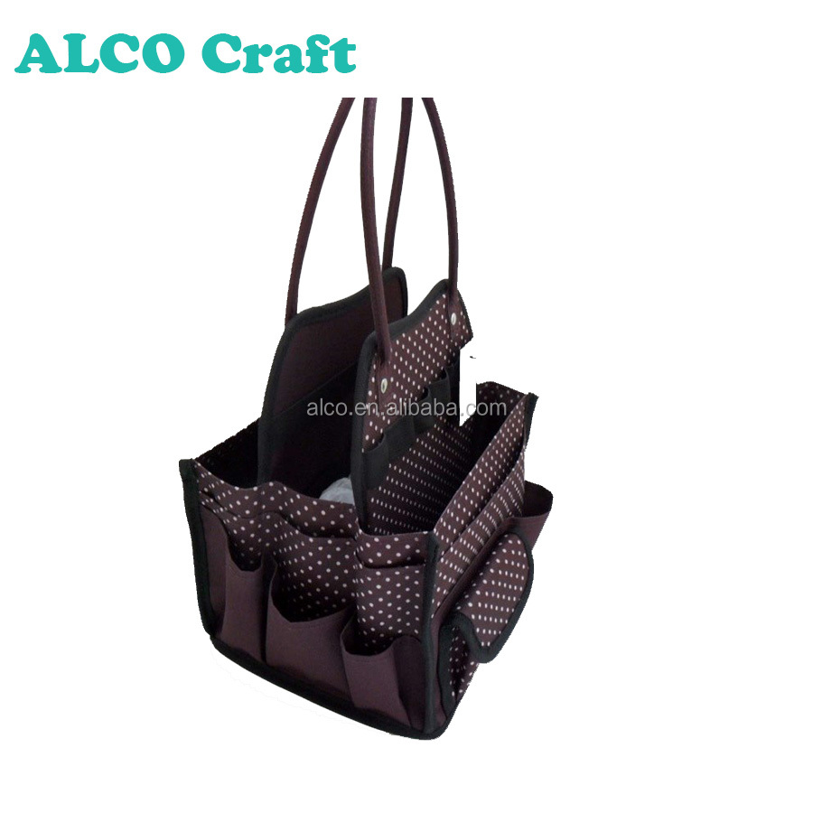 600D Polyester brown mini craft tote bag for scrapbook storage