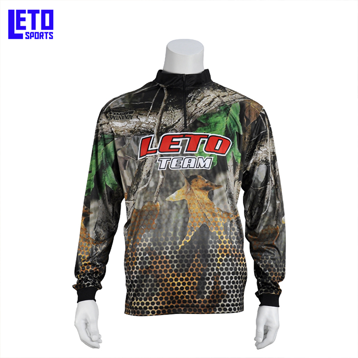 Custom Men's UPF50 Long Sleeve 1/4 zipper  fishing Bass jersey Design