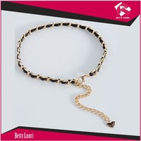 Newest wholesale lady gold metal chain belt