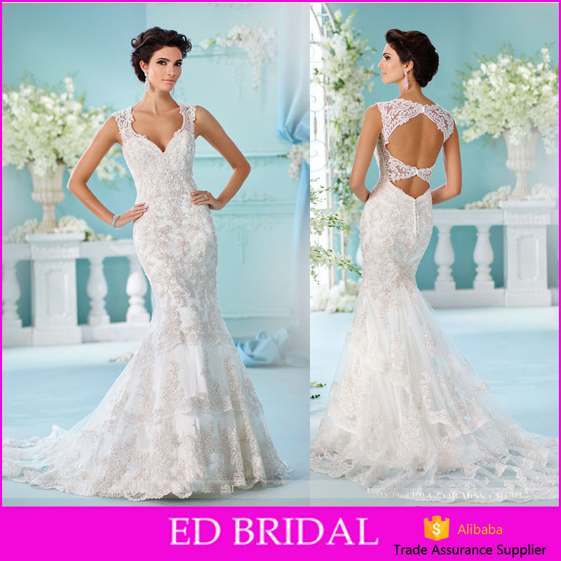 LN449 2017 new design gold lace appliqued bridal gown mermaid style cut out back wedding dress