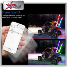 SUPER COOL UTV ATV SXS RGB LED Safety Whips By Blutooth Control 4ft 5ft 6ft 8ft With Quick Disconnect Whip