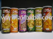 cassava chips, sweet potato chips, banana chips with many flavor such as BBQ, BLACK PEPPER, ORIGINAL, HOT & SPICY, CORN, ONION &