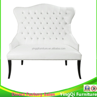 High Back White Wedding Love Seat Sofa Chair for Groom and Bride used