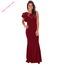 Claret Ruffle Sleeve Crochet Sleeveless Patchwork Dinner Long Evening Dress
