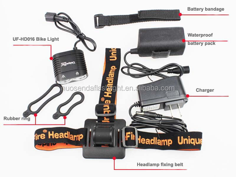 UniqueFire UF-D016 2xCREE XM-L2 1800 Lumens High beam+Dipped Headlight 4-Mode LED Bicycle Light+1xBattery Pack+1xCharger