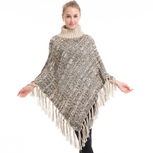 Women's Turtleneck Poncho Sweater Knit Cape Pullover Tallit Prayer Shawl