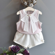 New Style Baby Girls 2PCS Outfits Suits Cute Kids Clothes Sets for Summer Stripped Tee Shirt+White Shorts Little Kids Costumes