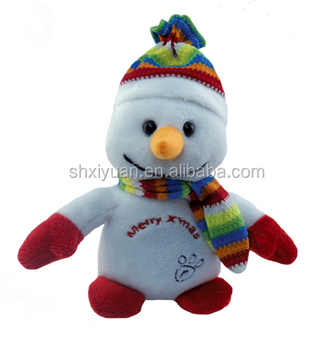 Plush baby christmas toys singing musical snowman with hat christmas snowman