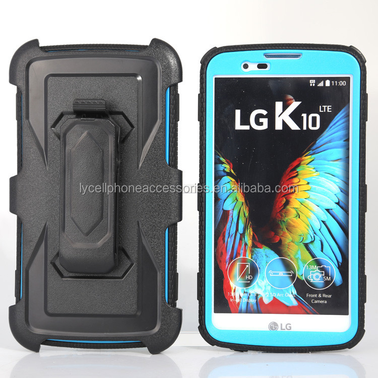 For LG K10 Heavy Duty Full-Body Rugged Holster Armor Case & Belt Swivel Clip Kickstand