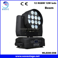 WLEDM-09-2B professional 12pcs 10w RGBW 4 IN 1 LEDS disco beam wash moving head led quad color