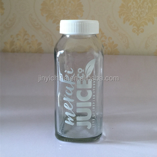 2016 Hot sale cheap 300ml french square glass juice /milk bottle with cap,glass bottles manufacturer