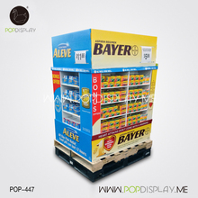 Portable 3 Tier Cardboard Shelf Ready Paperboard Portable Store Advertising Medicine Floor Display Stand
