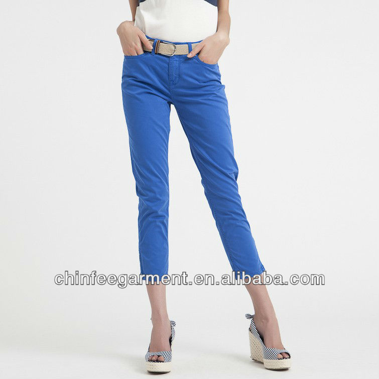 Ladies 3/4 Length Slim Pants Hot Sale Women Trousers