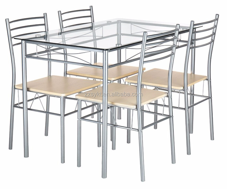Glass top dinning table and chairs sets furniture manufacturer