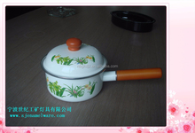 high quility enamel single wooden handle strait pot & milk pot with wooden knob