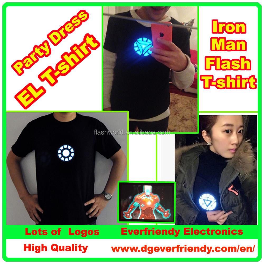 LED Iron Man Flash T-shirt EL Sound active Clothes For Carnival Favor Nightclub
